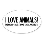 I Love Animals Oval Sticker
