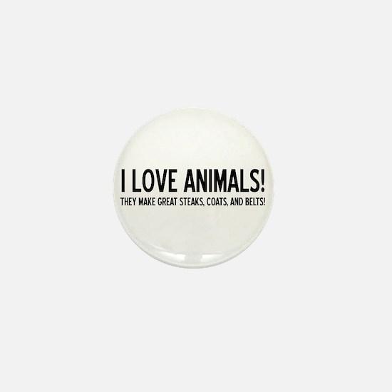 I Love Animals Mini Button (10 pack)