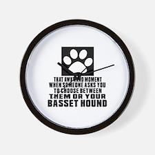 Basset Hound Awkward Dog Designs Wall Clock