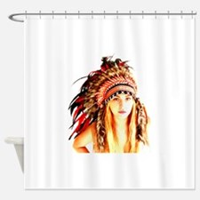 Cute Native american woman Shower Curtain