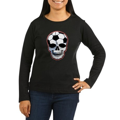 Soccer Head Women's Long Sleeve Dark T-Shirt