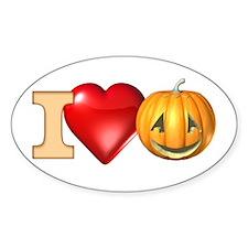 I Love Pumpkins Oval Decal