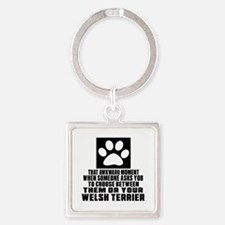 Welsh Terrier Awkward Dog Designs Square Keychain