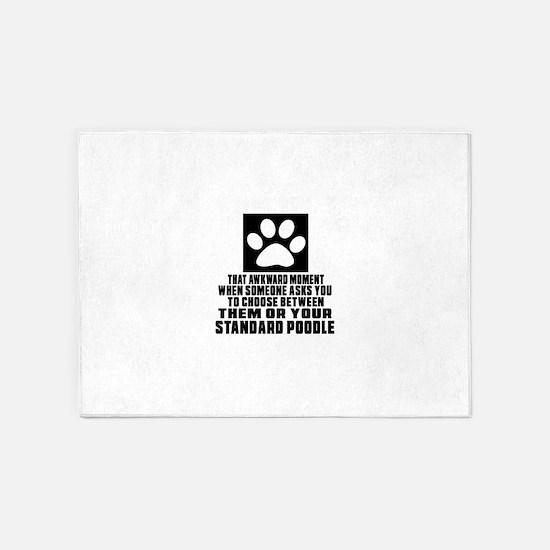 Standard Poodle Awkward Dog Designs 5'x7'Area Rug