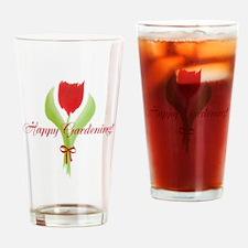 Cute Watercolor Tulip Gardener Drinking Glass