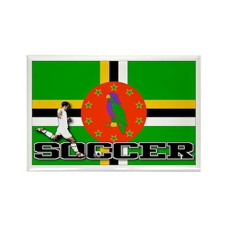 Dominica Flag Soccer Rectangle Magnet (10 pack)
