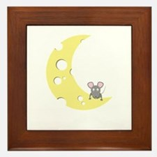 mouse on the cheese moon Framed Tile
