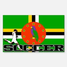 Dominica Flag Soccer Rectangle Decal