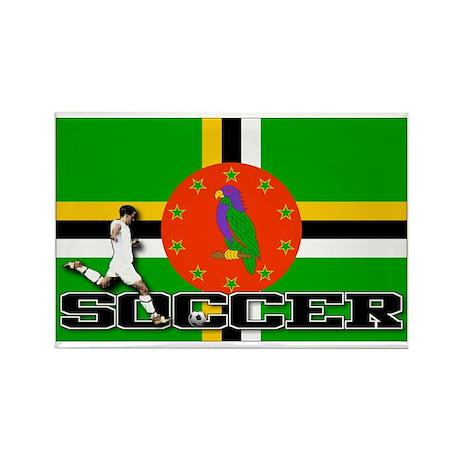 Dominica Flag Soccer Rectangle Magnet