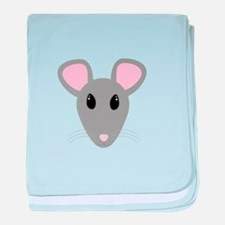 sweet gray mouse face baby blanket