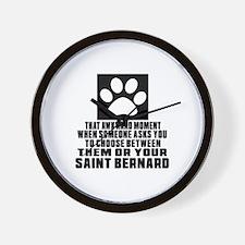 Saint Bernard Awkward Dog Designs Wall Clock