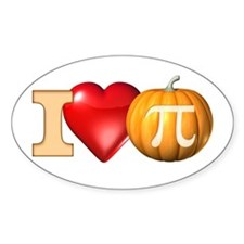 I Love Pumpkin Pi Oval Decal