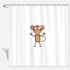 female monkey with flower Shower Curtain