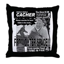 """Weekly World Cacher"" Throw Pillow"
