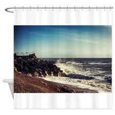 Battered Rocks Shower Curtain