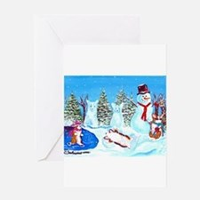 Snow Corgis II Greeting Cards