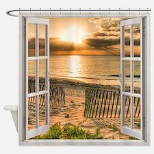 Beach Sunset Window View Shower Curtain