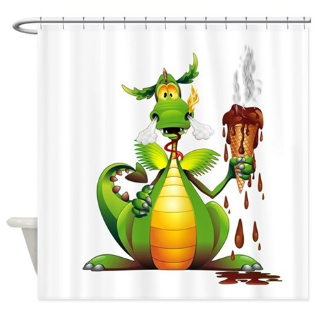 Fun Dragon With Ice Cream Shower Curtain By Bluedarkartgifts
