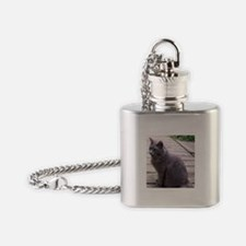 Gray Cat Flask Necklace