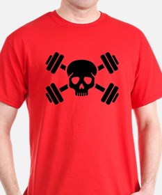 Crossed barbells skull T-Shirt