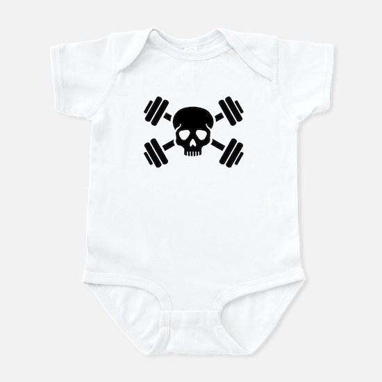 Crossed barbells skull Infant Bodysuit