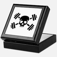 Crossed barbells skull Keepsake Box