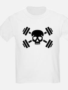 Crossed barbells skull T-Shirt