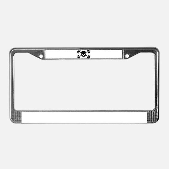 Crossed barbells skull License Plate Frame