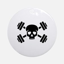 Crossed barbells skull Round Ornament