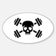 Crossed barbells skull Decal