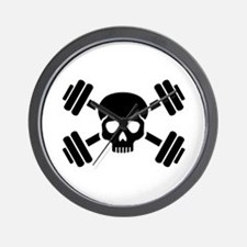 Crossed barbells skull Wall Clock