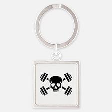 Crossed barbells skull Square Keychain