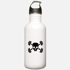 Crossed barbells skull Water Bottle