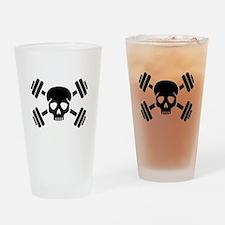 Crossed barbells skull Drinking Glass