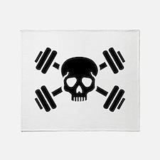 Crossed barbells skull Throw Blanket
