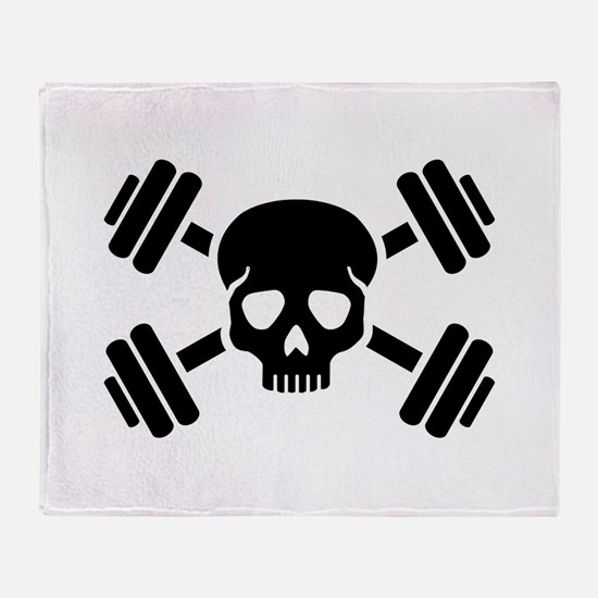 Crossed barbells skull Throw Blanket