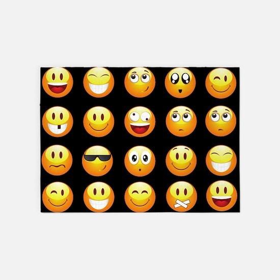 black emojis 5'x7'Area Rug