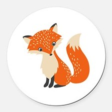 Cute Fox Round Car Magnet