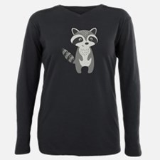 Cute Cartoon Raccoon Ill Plus Size Long Sleeve Tee