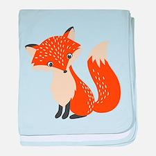 Cute Red Fox Cartoon Illustration baby blanket