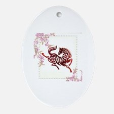 Unique Year of the horse Oval Ornament