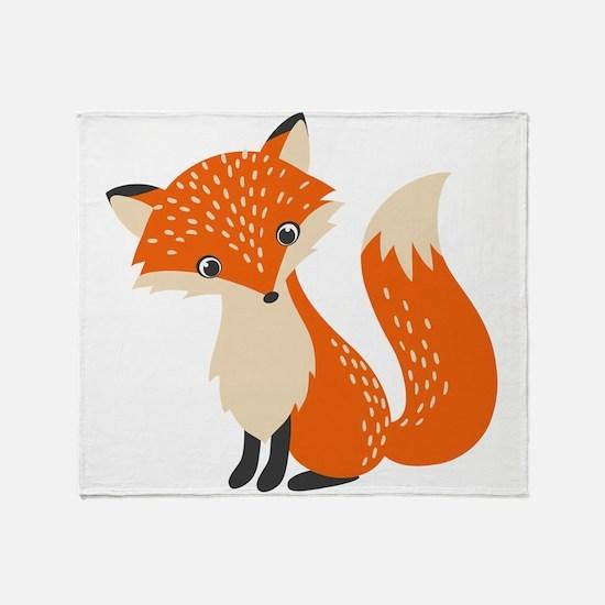 Cute Red Fox Cartoon Illustration Throw Blanket