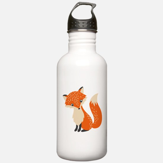 Cute Red Fox Cartoon I Water Bottle