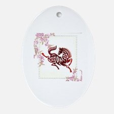 Cute Year of the horse Oval Ornament