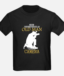 Never Underestimate Old Man With Camera T-Shirt