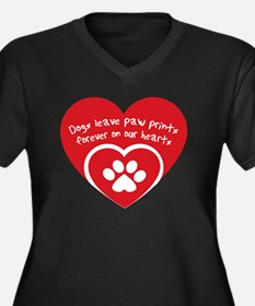 Funny Dogs leave paw Women's Plus Size V-Neck Dark T-Shirt
