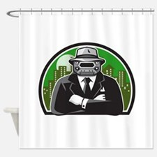 Mobster Car Grille Face Circle Retro Shower Curtai