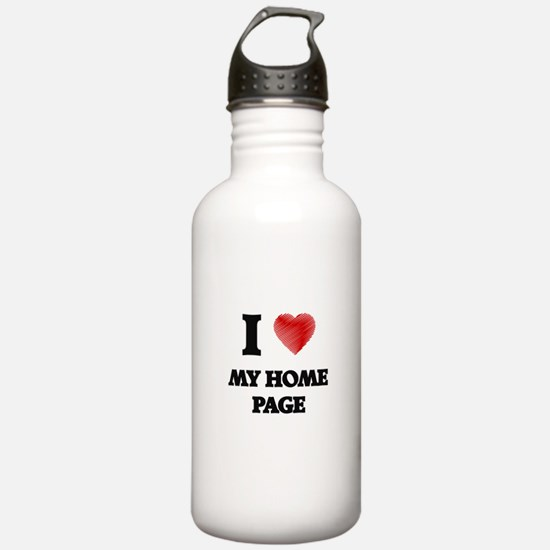 I Love My Home Page Water Bottle