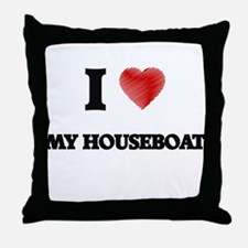 I Love My Houseboat Throw Pillow