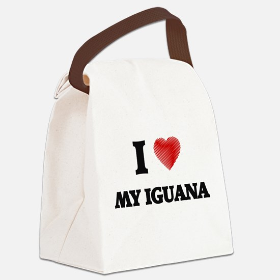 I Love My Iguana Canvas Lunch Bag